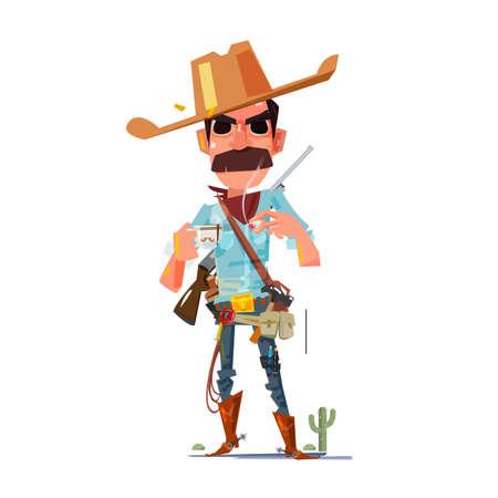 cowboy character with coffee - vector illustration Ilustração