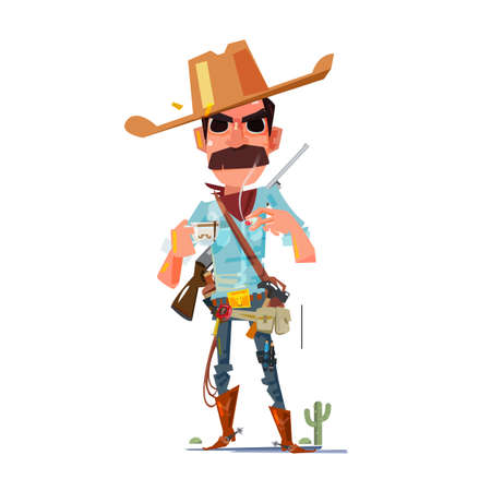 cowboy character with coffee - vector illustration Illustration