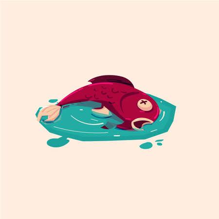 漫画のイラストで汚染された水の中で死んだ魚。  イラスト・ベクター素材