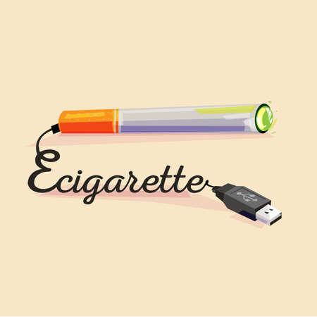E-sigaret met USB-kabel. concept art - vectorillustratie Stock Illustratie