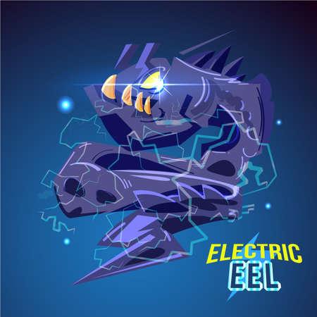 電気照明がベクトルイラストを火花と怒っている電気ウナギのキャラクターデザイン  イラスト・ベクター素材