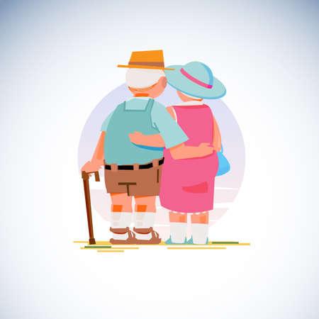 高齢夫婦立ちベクトルイラスト