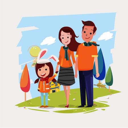 Familia feliz con uniforme naranja - ilustración vectorial Foto de archivo - 92337279