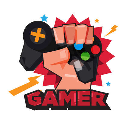 fist hand with gamer joy stick. typographic design. game lover concept - vector illustration Иллюстрация