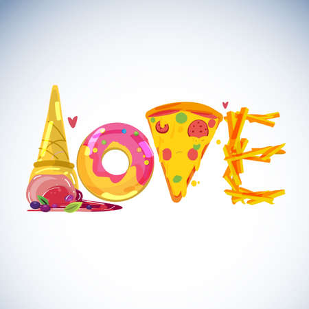 Fast food lover concept. typographic or logotype. ice cream, doughnut, pizza and fire - vector illustration Illustration