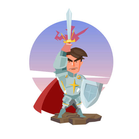 knight with his sword. hero concept - vector illustration