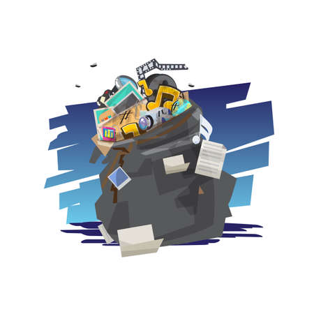 old file in black garbage bag. Clear up Unnecessary Files on Your computer. unused file in computer concept - vector illustration Illustration