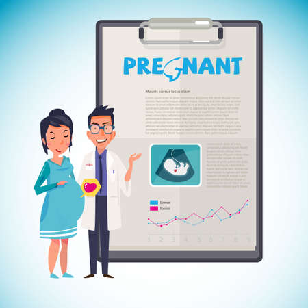 Pregnant female with doctor. Paperboard to present. infographic. Healthy Pregnancy concept - vector illustration Illustration