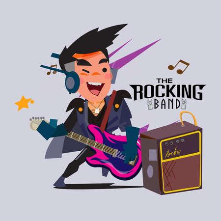 アンプ.ロッカーキャラクターデザインで電子ギターを演奏する男。ロックバンドコンセプト - ベクトルイラストレーション
