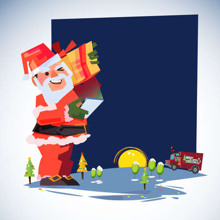 Santa Claus carry gift box and looking his phone for list of people to shipping. Express Delivery, delivery man. Merry Christmas and happy new year concept - vector illustration