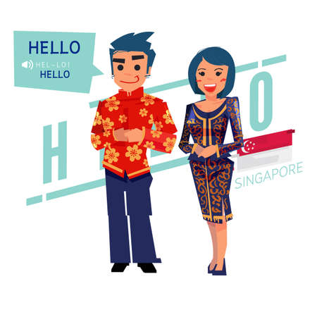 singapore couple in traditional costume. say hello. character design - vector illustration
