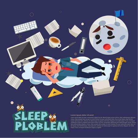 睡眠ビジネスマンは睡眠の問題を心配します。健康概念への勤勉とオフィス症候群効果 - ベクトルイラストレーション