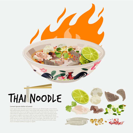 thai noodle in chicken Thai style bowl with ingredient graphic element - vector illustration Çizim