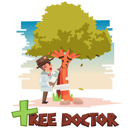 tree doctor take care for tree. arborist. tree surgeon with typographic for header design. care for nature concept - vector illustration Vectores