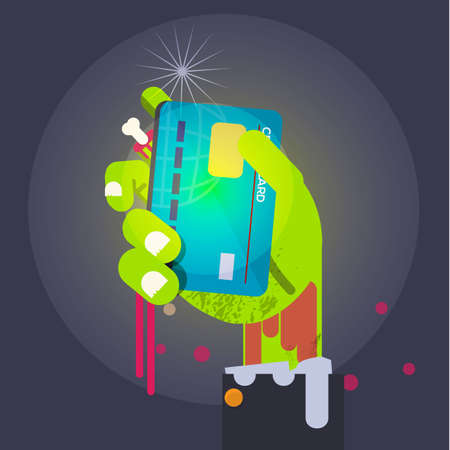 Zombie business hand holding a bloody blank credit card. Bad used for Credit card money. poor concept - vector illustration