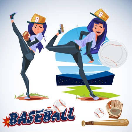 Cute female baseball player in action. typographic icon elements. sport girl concept - vector illustration