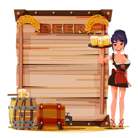 Beer girl with mug of beer in hand for serving. vintage wood board for presentation with beer barrel. Beer information - vector illustration Illustration
