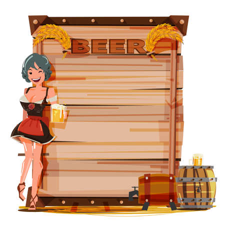 Cute girl with mug of beer in hand for serving. vintage wood board for presentation with beer barrel. Beer information - vector illustration