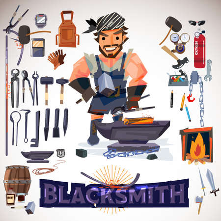 Blacksmith character design with metalwork tools. typographic for header infographic. icon elements - vector illustration Vettoriali