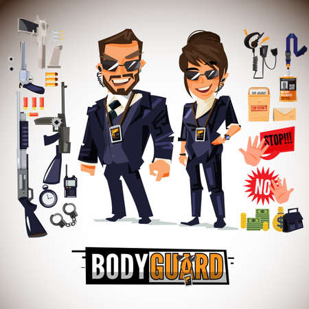 Bodyguard character design with weapon and equipment icon. smart man and women in black suit. typographic. security concept