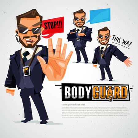 Security and security guards in actions - vector illustration