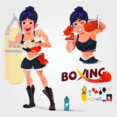 women boxer in actions. typogreaphic. character design with gym equipments - vector illustration