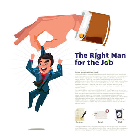 big hand of business manager pick up the smart and happy businessman. The right man for the job concept. apply the job icon - vector illustration