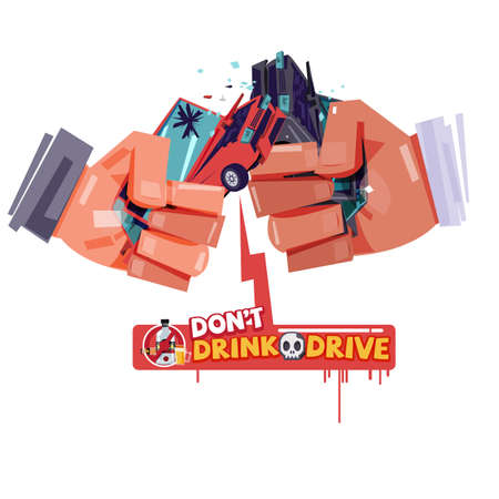 cheers hand with hitting car crash like a beer or alcohol glass. accident from drink and drive. don't drink and drive concept - vector illustration Ilustracja