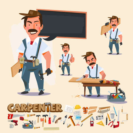 carpenter in various actions with wood work tool. character design with typographic - vector illustration Vectores