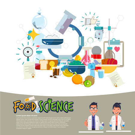 Food science concept. food laboratory typographic with microscope. scientist character design vector illustration  イラスト・ベクター素材