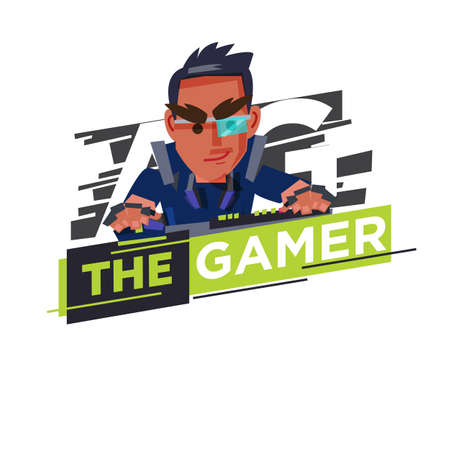 Gamer icon , hardcore gamer character design playing game by personal computer concept - vector illustration 일러스트
