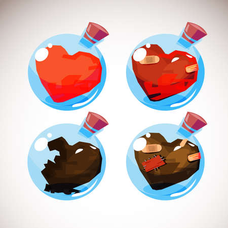 Heart in glass ball bottle from start to end of love concept Illustration
