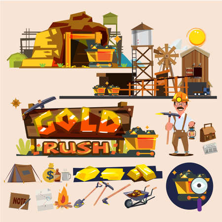 Gold mine with graphic elements design Çizim