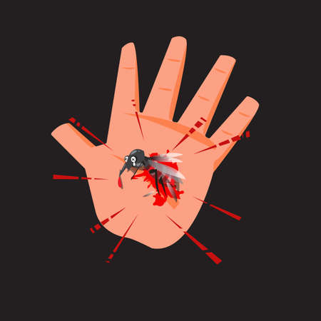 Dead mosquito in human hand with blood