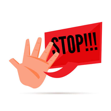stop hand with stop text - vector illustration Illustration