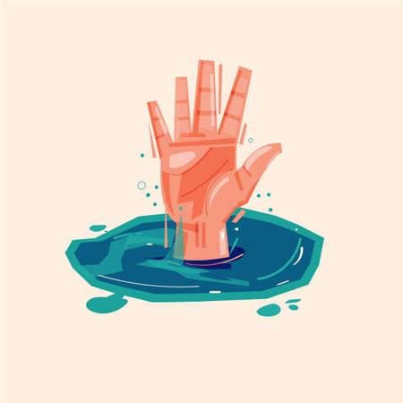 Hand des Ertrinkens des Mannes im Wasser um Hilfe bitten Vektorgrafik