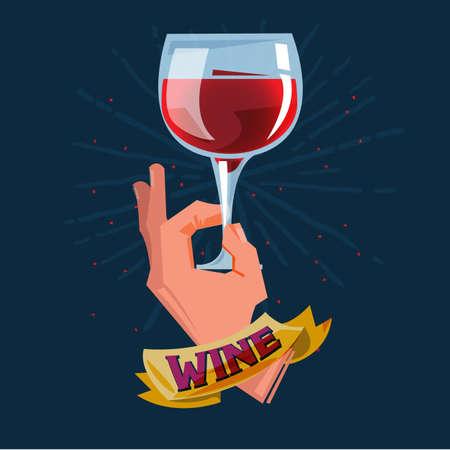 glass of wine in hand - vector illustration Stock Illustratie