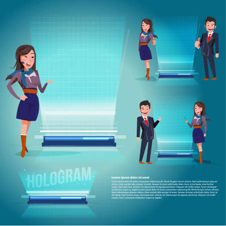 smart female and male with hologram projection machine for presentation - vector illustration Illustration