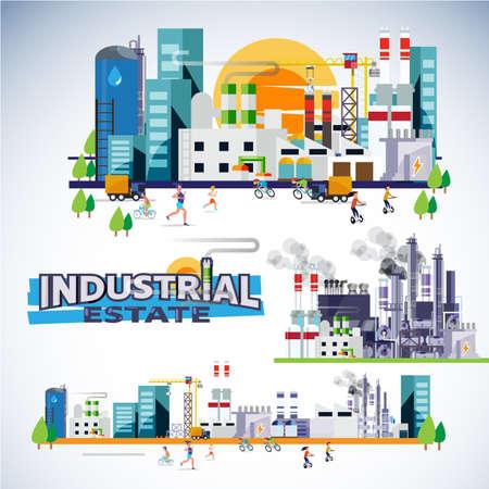 工場、倉庫、発電所、建物セットを備えた工業団地の超高層ビル。ヘッダーデザインのタイポグラフィ - ベクトル図  イラスト・ベクター素材