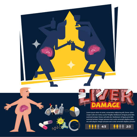 liver damage with infographic element. Liver cirrhosis concept - vector illustration