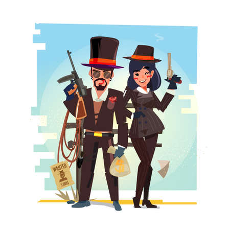 マフィア男性と女性のキャラクターデザイン - ベクトルイラスト 写真素材 - 97483970