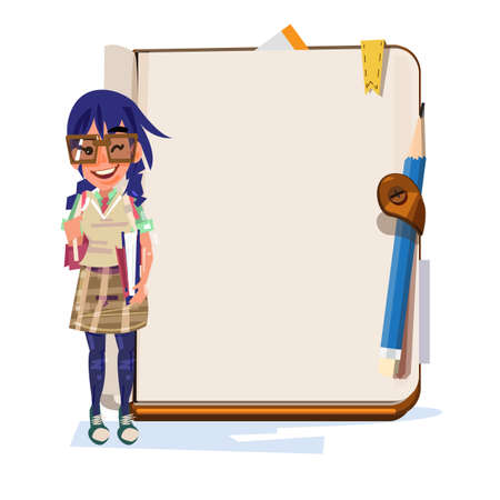 nerd gilr with blank notebook for presentation - vector illustration