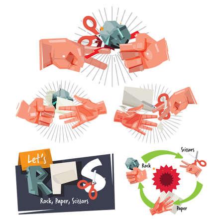 Rock, paper, scissors game hand sign for childhood concept - vector illustration