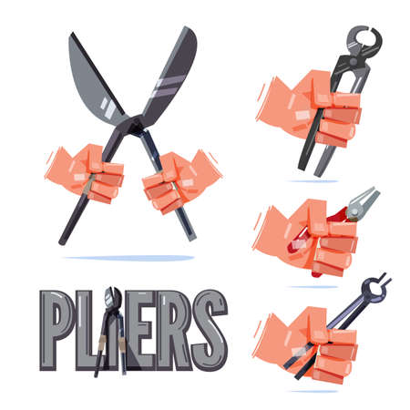 Hand holding type of pliers. hand and tool concept - vector illustration Vectores