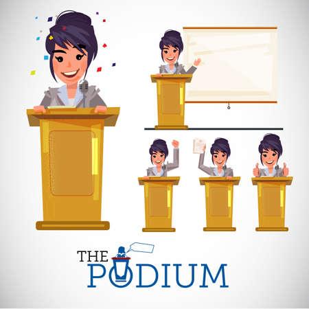 Smart female in business uniform on podium speech and presenting in various actions - vector illustration