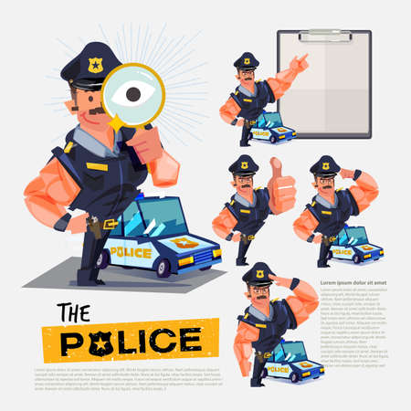 Police character design with various actions