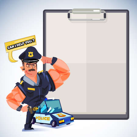 smart policeman showing muscle with clipboard to presentation.