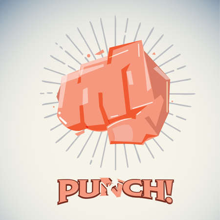 Hitting fist, protest and attack concept - vector illustration Çizim