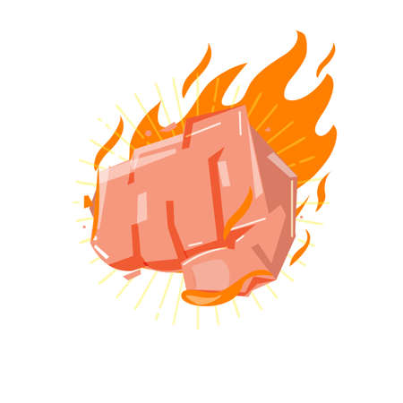 Hitting fist with fire, power and strong concept - vector illustration Çizim