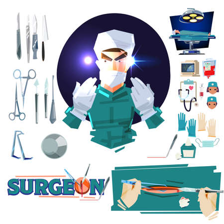 Surgeon doctor character design with Surgical Tools. operating room tools and equipments. typographic - vector illustration Vettoriali